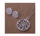 Красив сребърен комплект с флорални мотиви, проба 925-Комплекти