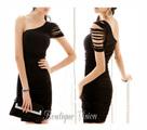 Елегантна черна рокля с една презрамка, налични размер-Дамски Рокли