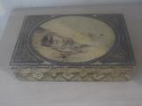 № 100 стара дървена кутия 1936 г. - пирография-Антики
