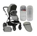 Комбинирана бебешка количка с помпащи гуми Aurora Grey Paris-Детски Колички