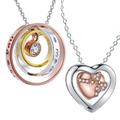 Колие сърце сребърно покритие 925 Silver синджирче с надпис-Колиета