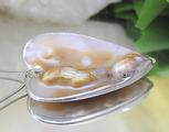 Промоция!Медальон от бял седеф във форма на сърце-Висулки