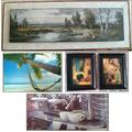 Картини пейзаж палми кафе стара ретро картина пано постер-Дом и Градина