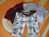 Лот Мъжки къси гащи летни къси панталони и тениска-Мъжки Панталони