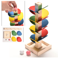 Образователна Детска дървена играчака Монтесори Дърво Пирами-Детски Играчки