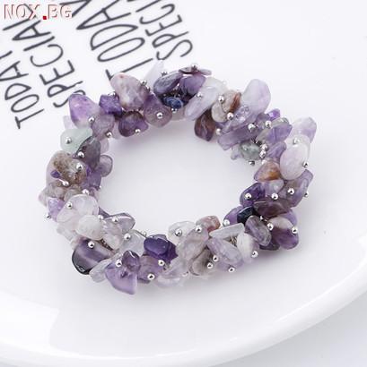 Ново! Гривна + подарък пръстен с полускъпоценни камъни-амети   Гривни   Русе