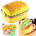Детска кутия за храна с форма на хамбургер с 3 прегради-Аксесоари