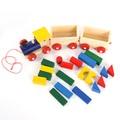 Дървен влак с вагони и строителни цветни блокчета-Детски Играчки