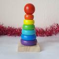 Занимателна играчка дървена пирамида с цветни рингове Монтесори-Детски Играчки