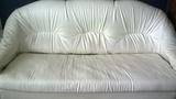 Тройка разтегателен диван от бяла еко кожа-Мебели и Обзавеждане