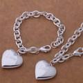 Комплект бижута колие и гривна с висулка голямо сърце LOVE-Комплекти