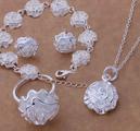 Комплект бижута Рози сребърно покритие 925-Комплекти