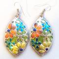 Дамски обеци Пъстри цветя ръчна изработка от полимерна глина-Обеци