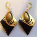 Дамски обеци Златно и черно ръчна изработка от полимерна гли-Обеци