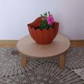 Малка кръгла масичка сгъваема бамбукова стойка на три крака-Мебели и Обзавеждане