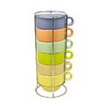 Комплект от 6 броя керамични чаши за кафе на метална стойка-Дом и Градина