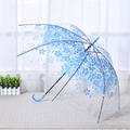 Автоматичен голям дамски чадър за дъжд прозрачен с принт на-Други Аксесоари
