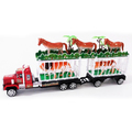 Голям детски камион с две клетки и 5 животни - кон тигър лъв-Детски Играчки