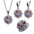 Сребърен комплект с австрийски кристали-Комплекти