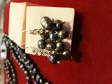Комплект с естествени черни перли-Комплекти