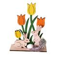 Великденски зайчета в градинка дървена украса декорация за В-Дом и Градина