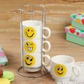 Комплект керамични чаши за кафе на метална стойка Усмивки-Дом и Градина