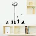Стикери за стена котки с птици сърца и уличен фенер стикери-Дом и Градина