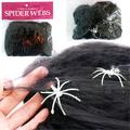 Изкуствена черна паяжина за декор с 2 паяка Хелоуин декораци-Други