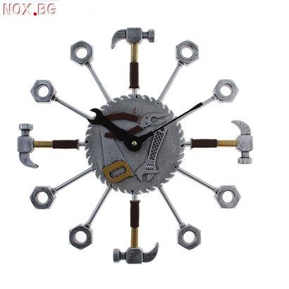 Стенен часовник инструменти подарък за майстори 37см | Други | Добрич