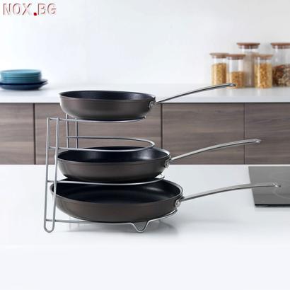 Метална стойка за тигани и тави органайзер за кухненски шкаф   Дом и Градина   Добрич
