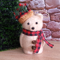 Коледна играчка Мече с шапка и шалче коледна украса 16см-Други