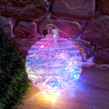 Светеща коледна топка с брокат за украса на елха 10см диамет-Изкуство