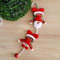 Коледна украса висящ Дядо Коледа и Снежко със звънче 44см-Изкуство