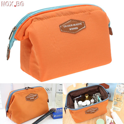 Малка козметична чантичка за гримове оранжева   Дамски Чанти   Добрич