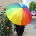1529 Голям дамски чадър за дъжд Дъга, 16 ребра, 95см диаметъ-Други