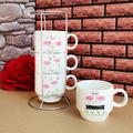 1603 Комплект керамични чашки за кафе на метална стойка Флам-Други
