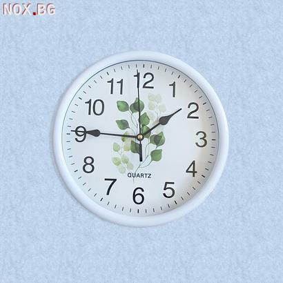 2040 Модерен кръгъл часовник с принт листа, 23см диаметър   Дом и Градина   Добрич