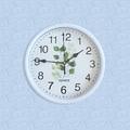 2040 Модерен кръгъл часовник с принт листа, 23см диаметър-Дом и Градина