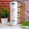 2240 Керамични чаши за кафе на метална стойка, различни моде-Дом и Градина