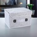 2198 Бяла кутия за съхранение с флорални мотиви-Дом и Градина