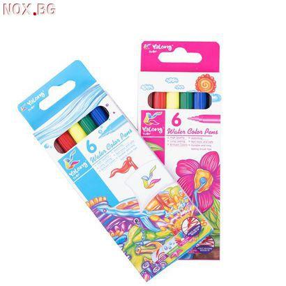 2396 Флумастери за оцветяване и рисуване, 6 цвята   Дом и Градина   Добрич