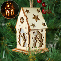 2492 Светеща коледна къщичка Ангел, украшение за елха, 8см-Дом и Градина