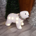 2501 Светеща коледна фигура Бяла мечка с Led светлини, 19x22-Дом и Градина